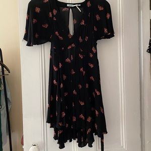 Black floral dress with short sleeves